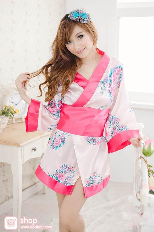 ชุดยูกาตะสั้นสีชมพูอ่อนลายดอกไม้ตัดขอบสีชมพูเข้ม