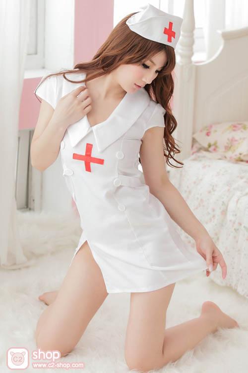 ชุดพยาบาลคอสเพลย์สีขาว