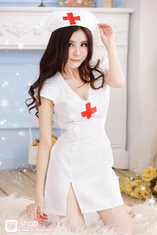 ชุดนางพยาบาลแฟนซีสีขาว