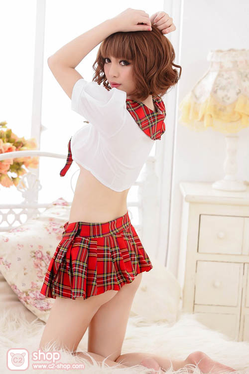 ชุดนักเรียนญี่ปุ่นแขนตุ๊กตาลายสก๊อตสีแดงสวยเอ็กซ์