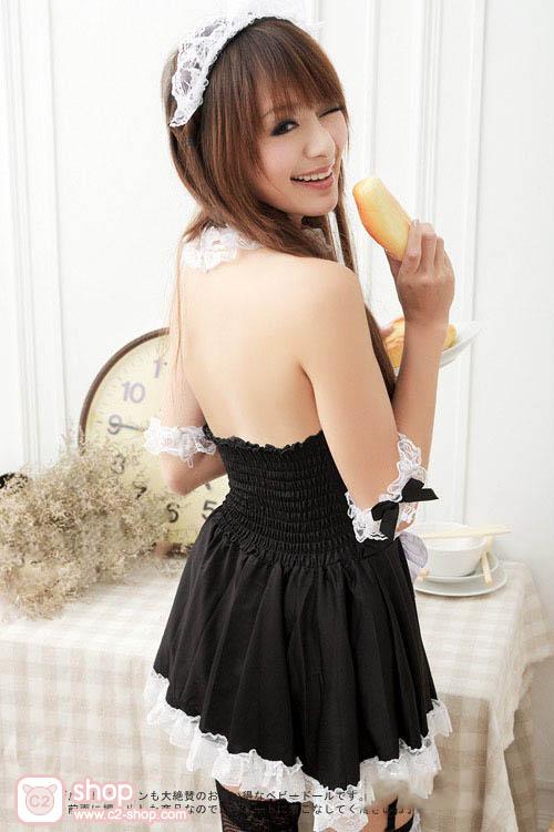 ชุดเมดแม่บ้านสาวใช้สุดน่ารักสีดำขาว