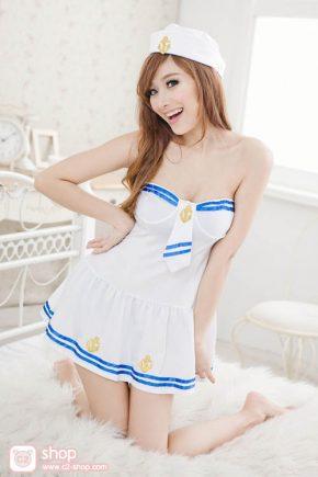 ชุดกะลาสีเรือหญิงแฟนซีสีขาวฟ้าสุดน่ารัก