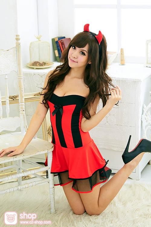 ชุดเดวิลหญิงปีศาจสาวแสนสวยสีแดงตัดดำ