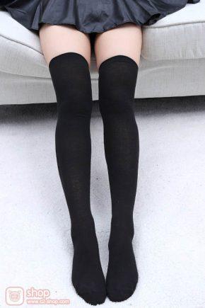 ถุงเท้ายาวนักเรียนญี่ปุ่นสีดำล้วน