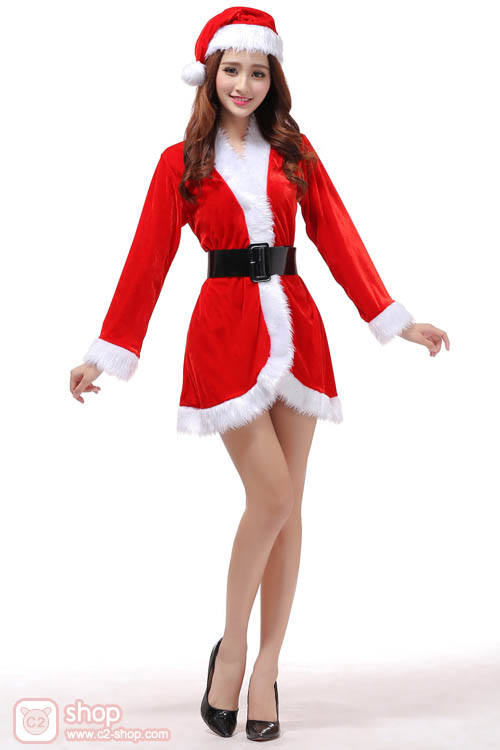 ชุดซานตาครอสผู้หญิงแขนยาวสวยน่ารักสีแดงตัดขอบสีขาว