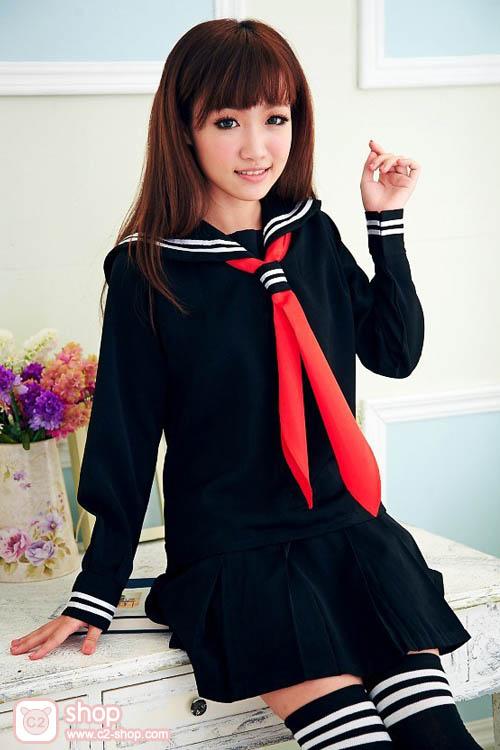 ชุดนักเรียนญีปุ่นแขนยาวสีดำผ้าผูกสีแดง