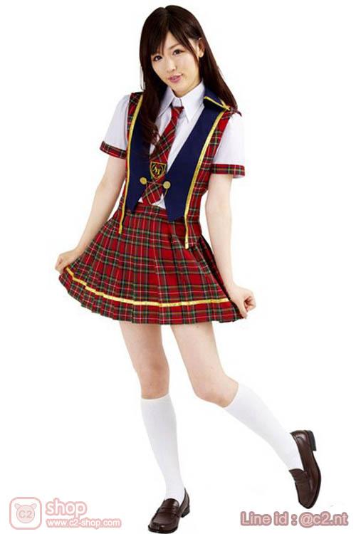 ชุดนักเรียนญี่ปุ่นลายสก๊อตสีแดงคอสเพลย์มาพร้อมเสื้อกั๊ก