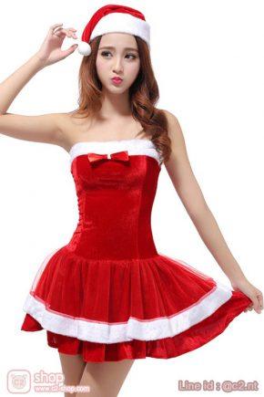 ชุดคริสต์มาสหญิงแสนสวยสีแดงตัดขาว