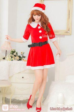 ชุดแซนตี้สาวมาในแบบเทรนด์ชุดซานต้าครอสหญิงสีแดงตัดสีขาวน่ารักเข้าเทรนด์