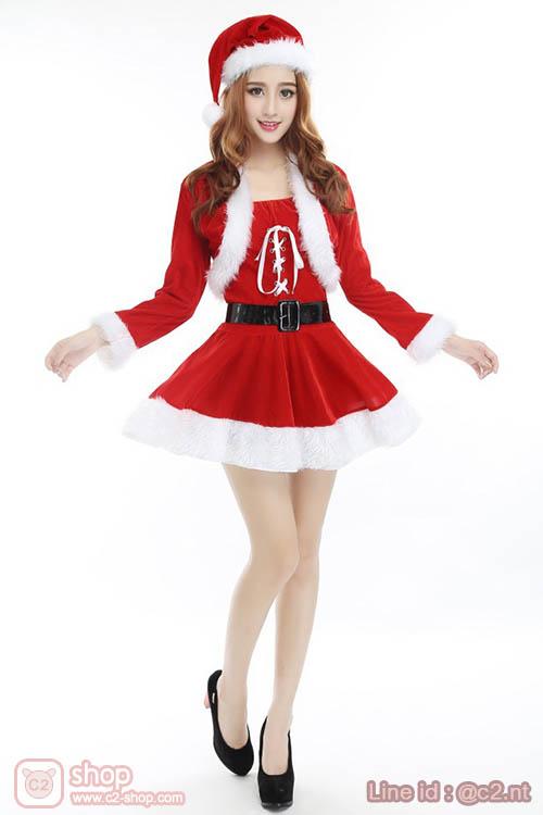 ชุดแซนตี้คริสมาสสุดน่ารักมาพร้อมเสื้อคลุมแขนยาว