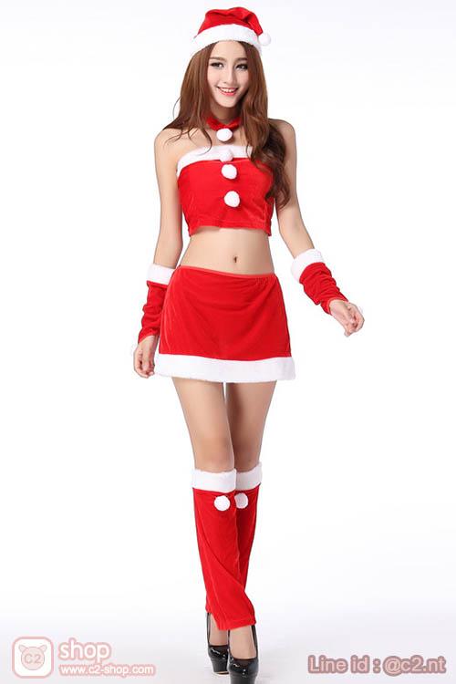 ชุดแซนตี้ผู้หญิงสุดเซ็กซี่สีแดงตัดสีขาวพร็อพน่ารักไปอีก