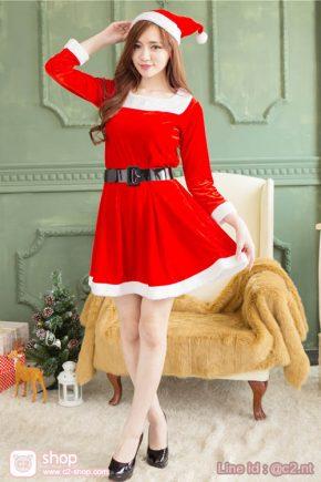 ชุดซานต้าครอสผู้หญิงแฟนซีคอสเพลย์สุดเรียบร้อย