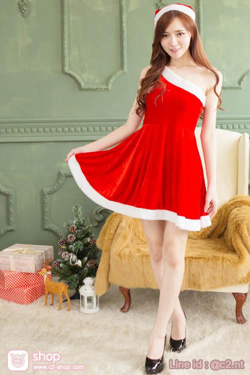 ชุดซานตี้ผู้หญิงสุดแซ่บแฟนซีคอสเพลย์มาแนวไหล่เปิดเฉียงสวยเก๋ไก๋