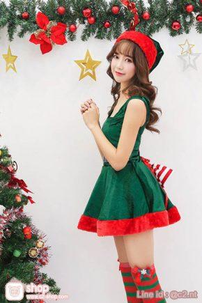 ชุดต้นคริสมาสผู้ใหญ่แฟนซีคอสเพลย์สีเขียวตัดสีแดงสวยน่ารักเกินคำบรรยาย