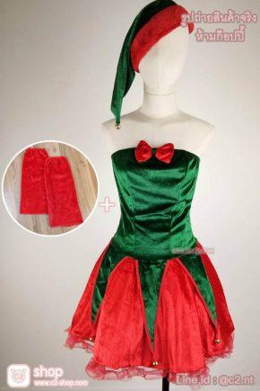 ชุดแซนตี้ต้นคริสต์มาสมาในโทนสีเขียวแดงผ้ากำมะหยี่สวยหรูเริ่ด