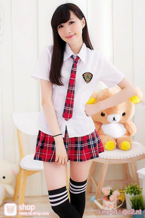 ชุดนักเรียนเกาหลีฤดูร้อนลายสก๊อตสีแดงแบบไท