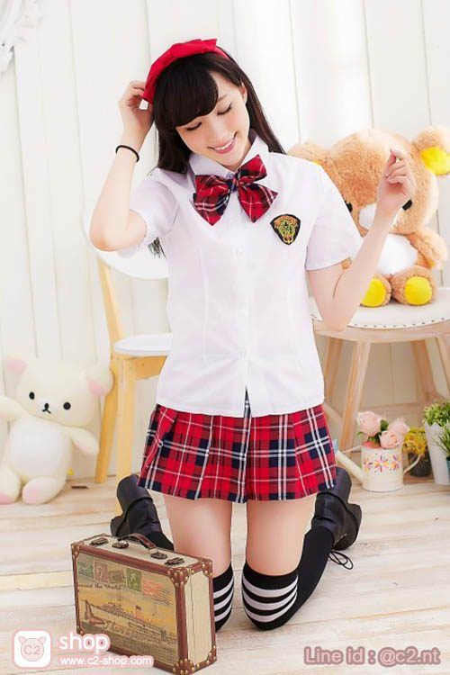 ชุดนักเรียนเกาหลีฤดูร้อนลายสก๊อตสีแดงแบบโบว์
