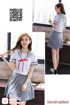ชุดคอสเพลย์การ์ตูนญี่ปุ่นนักเรียนเสื้อสีขาวกระโปรงสีเทาผูกโบว์สีแดง