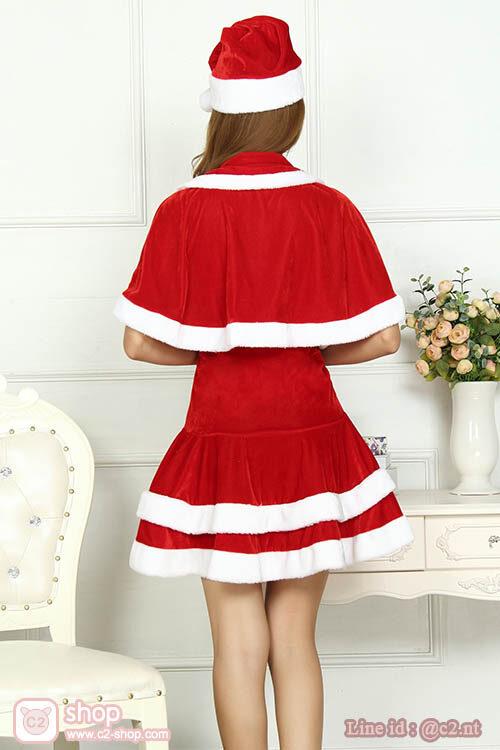 ชุดซานตี้น่ารักแฟนซีสุดคูลพร้อมเสื้อผ้าคลุมไหล่