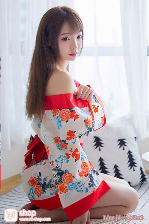 ชุดแฟนซีญี่ปุ่นยูกาตะสั้นสีครีมตัดขอบสีแดงส้มผ้าซาติน