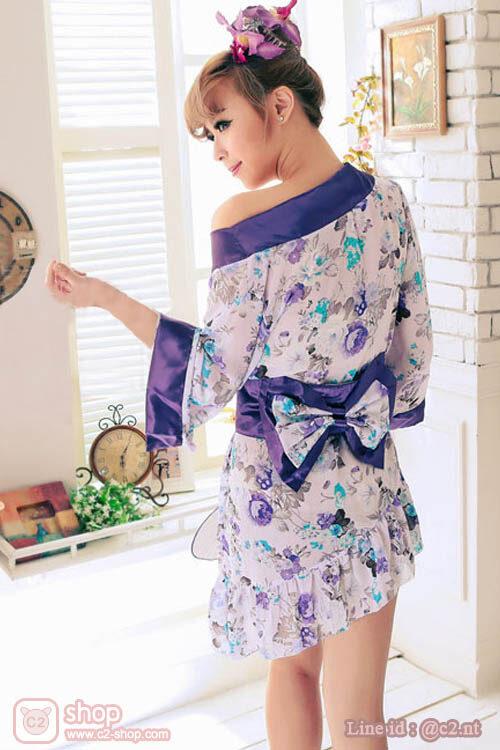 ชุดยูกาตะสั้นแฟนซีญี่ปุ่นสีม่วงอ่อนตัดขอบสีม่วงเข้มกระโปรงสั้นข้างยาวข้างมาในผ้าซาติน