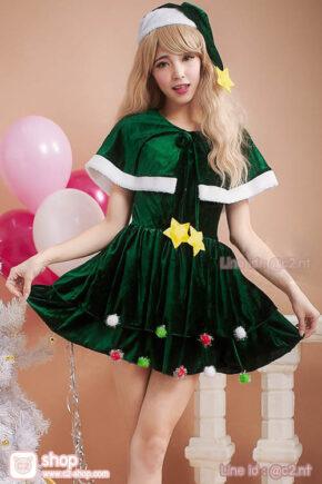 ชุดคริสมาสสีเขียวมาพร้อมเสื้อคลุมแซนตี้สุดน่ารัก