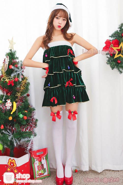 ชุดแซนตี้สีเขียวต้นคริสมาสมาพร้อมพร็อบสุดน่ารัก