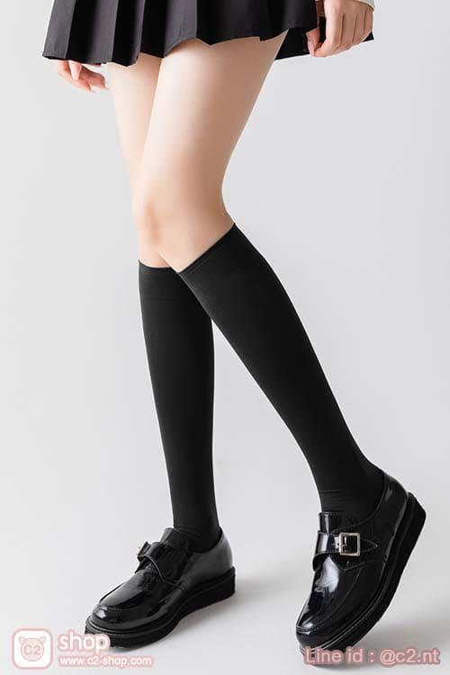 ถุงเท้านักเรียนญี่ปุ่นสีดำยาวใต้เข่า
